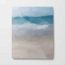 Aqua Blue Ocean Shore Break Waves Horizon Sandy Abstract Nature Ocean Painting Art Print Wall Decor Metal Print