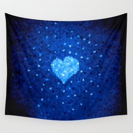 Winter Blue Crystallized Abstract Heart Wall Tapestry