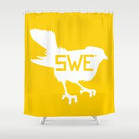 sweden Shower Curtains featuring National Bird of Sweden by Infinite Sparrow