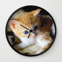 kitten Wall Clocks featuring Kitten  by Christine baessler
