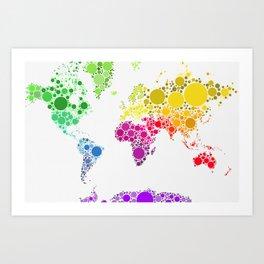 World Map (White Version) Art Print