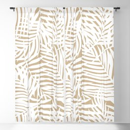 Tropical Almond Brown Leaves Blackout Curtain