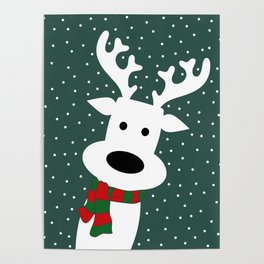 Reindeer in a snowy day (green) Poster