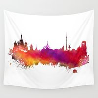 moscow Wall Tapestries featuring Moscow skyline by jbjart