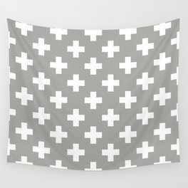 Grey Plus Sign Pattern Wall Tapestry