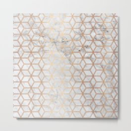 Hive Mind Marble Rose Gold #789 Metal Print