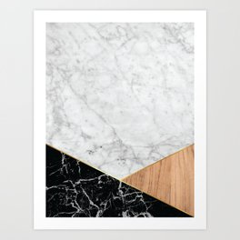 White Marble - Black Granite & Wood #711 Art Print