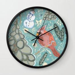 Seamless Winter Pattern with cute Cardinal Bird, Snowman and Spruce Tree Wall Clock