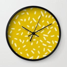 Mustard Yellow Brush Strokes Wall Clock