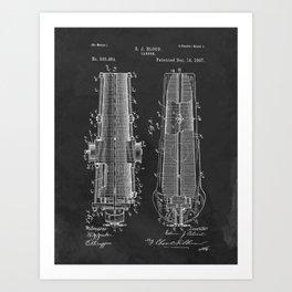 1897 Cannon Patent Invention Blueprint Military Art Print