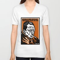 camus V-neck T-shirts featuring ALBERT CAMUS QUOTATION by Lestaret