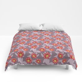 Hibiscus and pomegranate flowers in purple Comforters