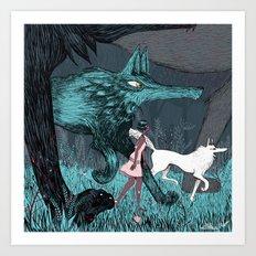 Woman Wolf wandering Art Print