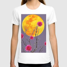 SURREAL FULL MOON & PINK WINTER ROSES T-shirt