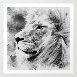 Lion Black and White  Mixed Media Digital Art Art Print