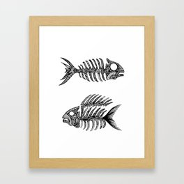 Original Artwork Fish Bone print, Abstract Ink Painting, Summer Home Decor, Seasonal Art Gift Framed Art Print