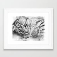 kitten Framed Art Prints featuring Kitten by Olechka