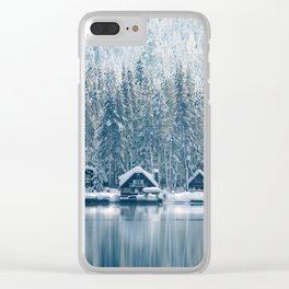 Winter's Cottage (Color) Clear iPhone Case