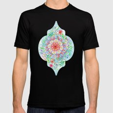Messy Boho Floral in Rainbow Hues Mens Fitted Tee 2X-LARGE Black