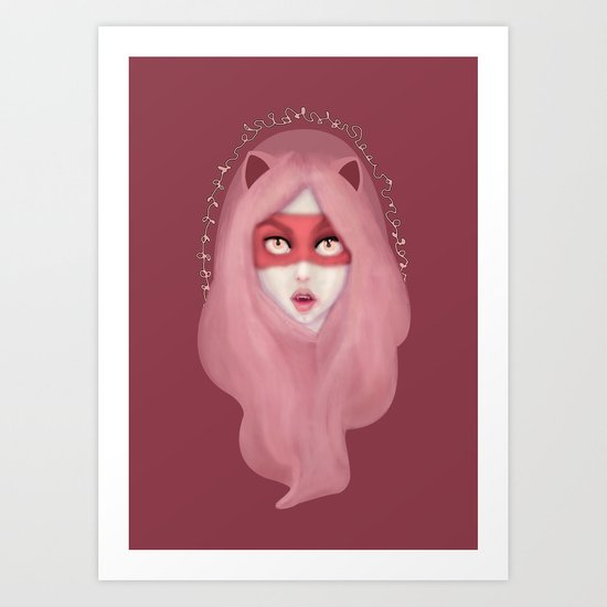 kitty.pink.power Art Print