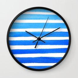 Blue Watercolor Stripes Wall Clock