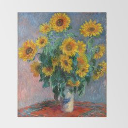 Bouquet of Sunflowers - Claude Monet Throw Blanket