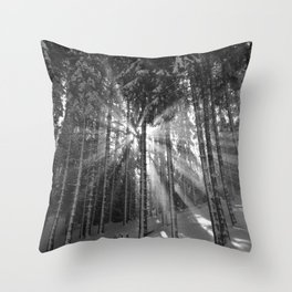 The Golden Light (Black and White) Throw Pillow