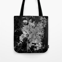 chile Tote Bags featuring Santiago map Chile by Line Line Lines
