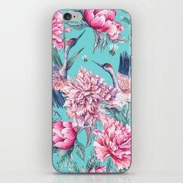 Watercolor crane and blooming peonies iPhone Skin