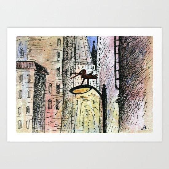 bird in the city Art Print
