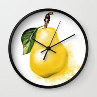 pear Wall Clocks featuring Pear by Epsylon