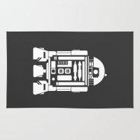 r2d2 Area & Throw Rugs featuring R2D2 Monochrome by John David Harris