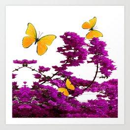 YELLOW BUTTERFLIES & PURPLE BOUGAINVILLEA FLOWERS Art Print