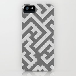 Light Gray and Dark Gray Diagonal Labyrinth iPhone Case