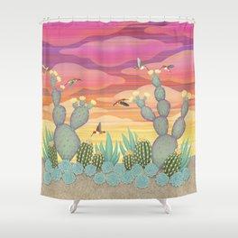 rufous hummingbirds & cactus Shower Curtain