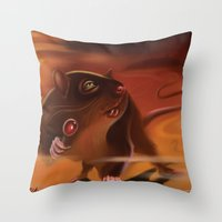rat Throw Pillows featuring Rat by Brandon Heffron