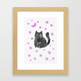 Black Cat with Pink Stars Framed Art Print