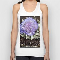 coffe Tank Tops featuring Coffe Beans and Blue Flower of Artichoke by CAPTAINSILVA