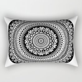Black and White Radial Mandala Illustration Rectangular Pillow