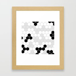 Honeycomb Pattern | Black and White Design | Minimalism Framed Art Print