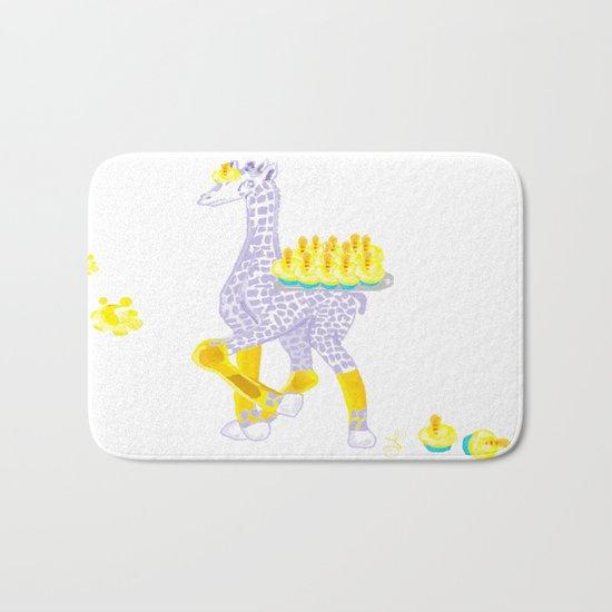 Birthdays are Coming - Midas is Ready - Christmas Lavender Giraffe Bath Mat
