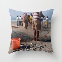 Fishermen Sorting the Catch Arambol Throw Pillow