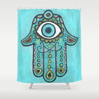 hamsa Shower Curtains featuring Hamsa  by EileenAArt