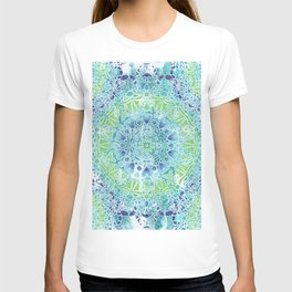 Blue Greenery Tie-Dye Mandala T-shirt