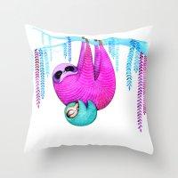 sloths Throw Pillows featuring Sloths by Annya Kai