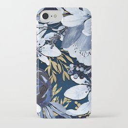 Navy Blue & Gold Watercolor Floral iPhone Case