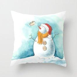 A snowman and a little bird Throw Pillow