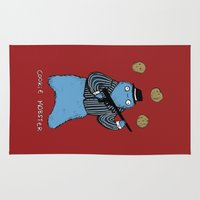 cookie monster Area & Throw Rugs featuring Cookie Mobster by Sophie Corrigan