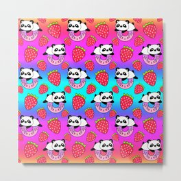 Cute funny sweet adorable playful little baby panda bears, yummy pink Kawaii donuts with sprinkles and red juicy summer strawberries cartoon rainbow blue pattern design Metal Print