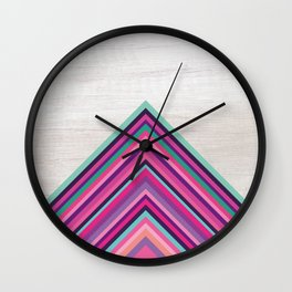 Wood and Bright Stripes, Chevron - Geometric Design Wall Clock